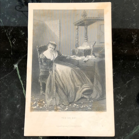 "Yes or No? 8.75"" x 5.5"" Antique Engraving/Print"